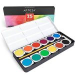 Arteza Ensemble Peinture Aquarelle Haut De Gamme, 25 Godets Avec Couleurs Vives, Comprend Un Pinceau (set de 25) de la marque ARTEZA® image 3 produit