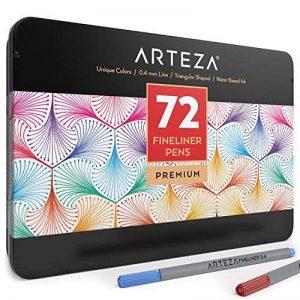 Arteza Feutres à pointes fines pour coloriage - Stylos Fineliner 0.4mm - 72 couleurs uniques - Encre à base d'eau - Lot de 72 de la marque ARTEZA® image 0 produit