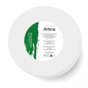 Artina - Châssis entoilé - Toile à peindre - Akademie - Apprêtée 2 fois - Lot de 2 - Ronde Ø 50cm 280g/m² de la marque Artina image 0 produit