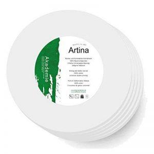 Artina - Châssis entoilé - Toile à peindre - Akademie - Apprêtée 2 fois - Lot de 5 - Ronde Ø 50cm 280g/m² de la marque Artina image 0 produit