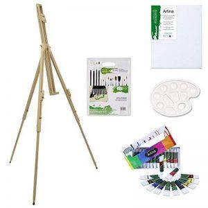 Artina Chevalet de campagne + Set de 29 pièces pour peinture acrylique inclus pinceaux toile peinture acrylique palette de la marque Artina image 0 produit