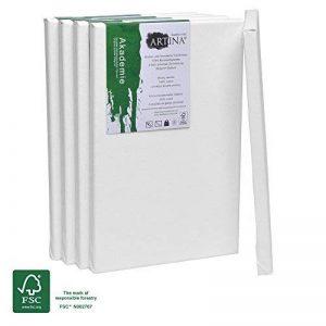 Artina Châssis entoilé certifié FSC® - Toile à peindre - Akademie - Qualité fine - Apprêtée 2 fois - Lot de 5-20x30cm - 280g/m² de la marque Artina image 0 produit