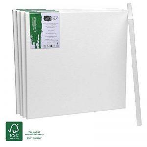 Artina Châssis entoilé certifié FSC®- Toile à peindre - Akademie - Qualité fine - Apprêtée 2 fois - Lot de 5-40x40cm - 280g/m² de la marque Artina image 0 produit
