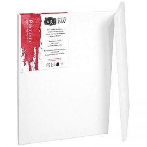 Artina - Châssis entoilé - Toile à peindre - Premium - Apprêtée 3 fois - Lot de 2 - 70x120cm 380g/m² de la marque Artina image 0 produit