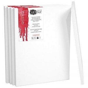 Artina - Châssis entoilé - Toile à peindre - Premium - Qualité fine - Apprêtée 3 fois - Lot de 5 - 80x100cm 380g/m² de la marque Artina image 0 produit