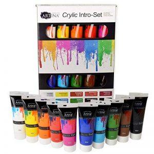 Artina crylic Peinture acrylique pour artistes Fortement pigmentées Lot de 10 tubes de peinture acrylique de 120ml de la marque Artina image 0 produit