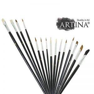 Artina - Lot de 15 pinceaux - Brosses, plats et ronds - Idéal pour toutes techniques: aquarelle, acrylique, huile de la marque Artina image 0 produit