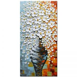 Asdam Art-élégante fleur blanche de tableaux sur toile 100% peints à la main peintures à l'huile abstrait mur de l'art de salon, chambre, salle à manger, la décoration d'intérieur(20X40 inch) de la marque Asdam Art image 0 produit