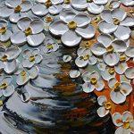 Asdam Art-élégante fleur blanche de tableaux sur toile 100% peints à la main peintures à l'huile abstrait mur de l'art de salon, chambre, salle à manger, la décoration d'intérieur(20X40 inch) de la marque Asdam Art image 2 produit