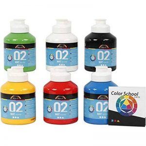 Assortiment de A Color Peinture acrylique Couleurs primaires de mat 32132de Creativ Company–École Assortiment de couleur pour peinture acrylique et pour acrylique Photos. 6x 500ml de la marque A-Color image 0 produit