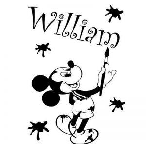 Autocollant en vinyle ThatVinylPlace - Mickey mouse avec votre nom choisi 60cm x 40cm choisissez la couleur 18 couleurs en stock Disney pour enfants, dessin, peinture, tout nom, nom personnalisé, chambre, autocollants pour enfants, voiture vinyle, autoc image 0 produit
