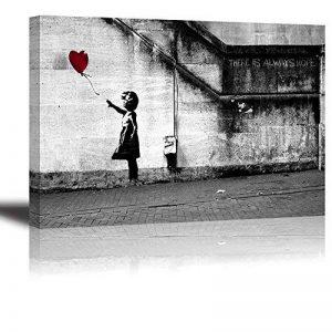 Banksy Impression sur toile de Fille avec Ballon Rouge, PIY painting Art Graffiti Décor HD Image Peinture Tableaux de la Mur Imperméable prete à poser Eco-Print Décoration Moderne pour la Salle Chamber bon Cadeau pour vos amis et familles 30x40cmx2.5cm de image 0 produit