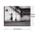 Banksy Impression sur toile de Fille avec Ballon Rouge, PIY painting Art Graffiti Décor HD Image Peinture Tableaux de la Mur Imperméable prete à poser Eco-Print Décoration Moderne pour la Salle Chamber bon Cadeau pour vos amis et familles 30x40cmx2.5cm de image 1 produit