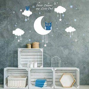 Bdecoll Bébé Chouette sur lune et étoile Stickers muraux oiseaux 2 x Hibou mignon Chambre Decor garçons filles Chambre Décoration Mur Art (Blue) de la marque BDECOLL image 0 produit