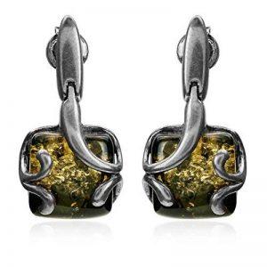 Boucles d'oreilles clous carré Ambre verte Argent Sterling de la marque Noda image 0 produit