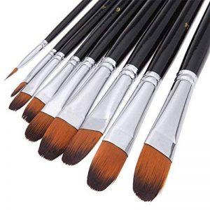 Brosse à peinture professionnelle artiste noir - 9 pièces, poignée longue, brosses parfaites pour l'aquarelle, les acryliques, la peinture à l'huile, la gouache, de la marque GP image 0 produit