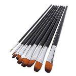 Brosse à peinture professionnelle artiste noir - 9 pièces, poignée longue, brosses parfaites pour l'aquarelle, les acryliques, la peinture à l'huile, la gouache, de la marque GP image 1 produit