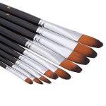Brosse à peinture professionnelle artiste noir - 9 pièces, poignée longue, brosses parfaites pour l'aquarelle, les acryliques, la peinture à l'huile, la gouache, de la marque GP image 4 produit