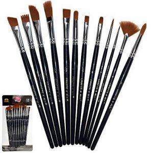 Brosses de peinture Ensemble de 12 pièces Pinceau professionnel Pinceau rond à pointes Nylon Cheveux Artistique Brosse acrylique pour Peinture à l'huile d'aquarelle acrylique par Crafts 4 ALL. de la marque Crafts 4 ALL image 0 produit