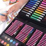 CADEAU POUR FILLES KIT D'ART POUR FETE ET ANNIVERSAIRE – ensemble créatif de dessiner, scrapbooking, doodling, barbouillage, 118 paillettes, stylos, crayons, pastels, peintures de la marque GirlZone image 4 produit