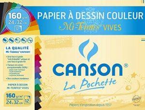 Canson - 526016 - Pochette de 12 feuilles papier dessin - 160 g - 24 x 32 cm - Assortis vifs de la marque Canson image 0 produit