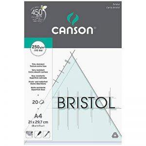 Canson Arts graphiques Bristol Papier à dessin A4 21 x 29,7 cm 20 feuilles Extra Blanc de la marque Canson image 0 produit