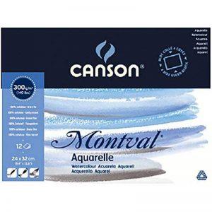 Canson Bloc collé 4 côtés Papier aquarelle 24 x 32 cm Blanc Naturel de la marque Canson image 0 produit