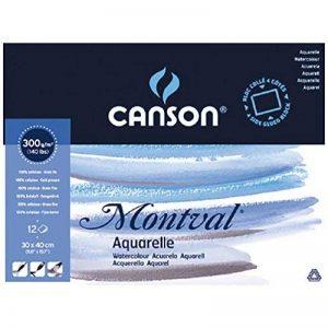 Canson Bloc collé 4 côtés Papier aquarelle 30 x 40 cm Blanc Naturel de la marque Canson image 0 produit