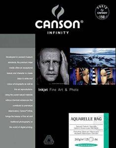 Canson InFinity Aquarelle Rag Papier Photo Ramette de 25 Feuilles 240g A4 Blanc Naturel de la marque Canson image 0 produit