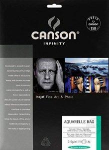 Canson InFinity Arches Aquarelle Rag Pochette Papier Photo 10 Feuilles 310 g A4 Blanc Naturel de la marque Canson image 0 produit