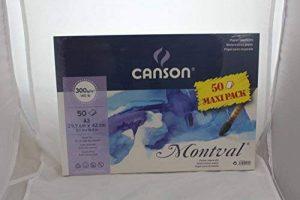 Canson Lot de 50feuilles de papier aquarelle Montval, A3300g/m² (63,5kilogram) de la marque Canson image 0 produit