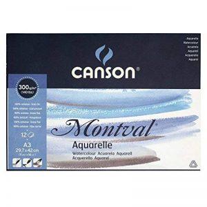 Canson Montval 200807320 Papier aquarelle A3 29,7 x 42 cm 12 feuilles Blanc naturel de la marque Canson image 0 produit