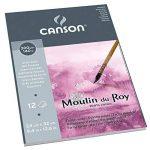 Canson Moulin du Roy Bloc collé petit côté Papier aquarelle Grain Satin 24 x 32 cm 12 feuilles Blanc Naturel de la marque Canson image 1 produit