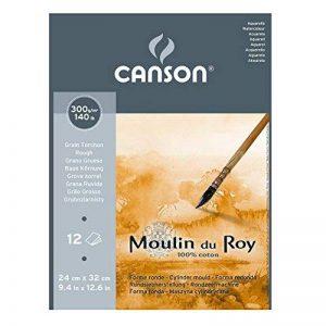 Canson Moulin du Roy Bloc collé petit côté Papier aquarelle Grain Torchon 24 x 32 cm 12 feuilles Blanc Naturel de la marque Canson image 0 produit
