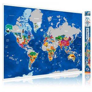 Carte du Monde à Gratter Enfy - Scratch Off World Map - Grand Poster Mural Personnalisé avec des Illustrations Artistiques Faites à la Main - Incluant Tous les Pays d'Europe et les US Etats-unis de la marque Enfy image 0 produit