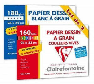 Clairefontaine 196778AMZC Etival Color pochette 15F 24x32cm 160g à grain Assortiment Vif - 3F gratuites + Dessin à Grain pochette 24x32cm 180g Blanc - lot de 2 de la marque Clairefontaine image 0 produit
