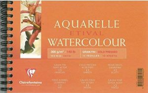 Clairefontaine 96062C Etival Aquarelle bloc spiralé 12F 12x18cm 300g grain fin Blanc de la marque Clairefontaine image 0 produit