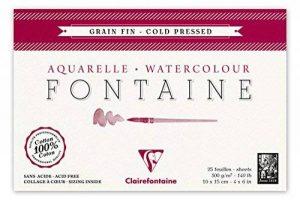 Clairefontaine 96436C Fontaine Aquarelle bloc collé 4 côtés 25F 10x15cm 300g grain fin Blanc de la marque Clairefontaine image 0 produit