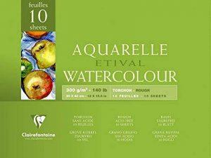 Clairefontaine 96562C Etival Aquarelle bloc collé 4 côtés 10F 30x40cm 300g grain torchon Blanc de la marque Clairefontaine image 0 produit