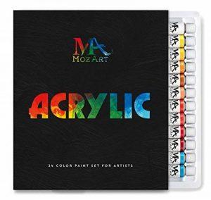 Coffret peinture acrylique – 24 Tubes de 12 ml – Peinture à l'eau Idéale pour tous les Supports – Adapté à la Pâte à Sel, à la Peinture sur Toile et sur Plastique - MozArt Supplies de la marque MozArt Supplies image 0 produit