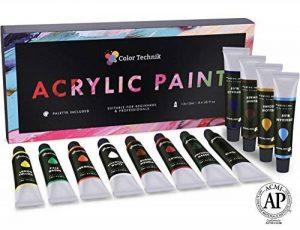 ColorTechnik Set de 12tubes de peinture acrylique Qualité professionnelle Palette incluse Tubes en aluminium Pour peinture sur toile, bois, argile, tissu, ongles et céramique Pigments riches de la marque Color Technik image 0 produit
