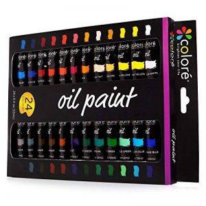 Colore - Ensemble de Peinture à l'huile de haute qualité - Parfait pour l'utilisation sur les Peintures de Paysage et les Portraits sur toile - Idéal pour les artistes professionnels, les étudiants et les débutants - Ensemble de 24 couleurs de peinture à image 0 produit