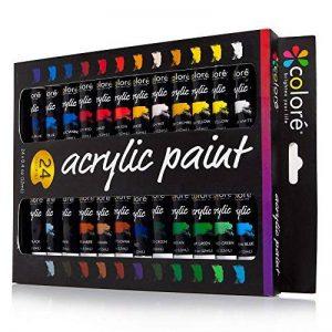 Colore - Ensemble de Peinture acrylique - parfait pour toile de peinture, d'argile, tissu, Art d'ongle et céramique - pigments riches avec la qualité durable - Idéal pour les débutants, les étudiants et artiste professionnel - 24 couleurs de la marque Col image 0 produit
