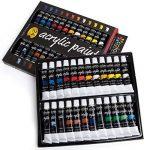 Colore - Ensemble de Peinture acrylique - parfait pour toile de peinture, d'argile, tissu, Art d'ongle et céramique - pigments riches avec la qualité durable - Idéal pour les débutants, les étudiants et artiste professionnel - 24 couleurs de la marque Col image 1 produit