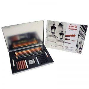 Conté à Paris - Boîte de 6 Crayons Esquisses 12 Esquisses Carrés + 2 Tortillons + Gomme Mie de Pain Couleurs Assorties de la marque Conté à Paris image 0 produit