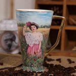 Creative Big Bone China tasse en céramique tasse de thé tasse de café Peinture tasse de lait - huile Belle Fille de la marque ufengke-ts image 1 produit