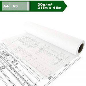 Croquis rôle papier de construction papier calque calque papier calque du papier de soie papier A3 A4 30g / m² 12in x 50YD, ca.31cm x 46m de la marque Kultloggen image 0 produit