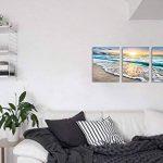 Cufun Art 3tableaux muraux sur toile pour la décoration d'intérieure, bleu mer, coucher de soleil et plage blanche. Image imprimée sur toile, photo de paysage marin pour décoration intérieure. Prêts à poser 30,5x 40,6 x 7,6 cm, encadrés., Blue Sunset, 1 image 2 produit