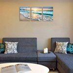 Cufun Art 3tableaux muraux sur toile pour la décoration d'intérieure, bleu mer, coucher de soleil et plage blanche. Image imprimée sur toile, photo de paysage marin pour décoration intérieure. Prêts à poser 30,5x 40,6 x 7,6 cm, encadrés., Blue Sunset, 1 image 3 produit