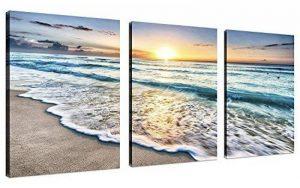 Cufun Art 3tableaux muraux sur toile pour la décoration d'intérieure, bleu mer, coucher de soleil et plage blanche. Image imprimée sur toile, photo de paysage marin pour décoration intérieure. Prêts à poser 30,5x 40,6 x 7,6 cm, encadrés., Blue Sunset, 1 image 0 produit